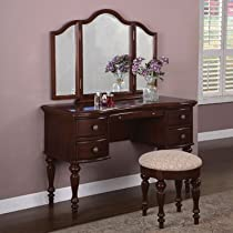 Hot Sale Powell 508-290 Marquis Cherry Mirror Bench Bedroom Vanity