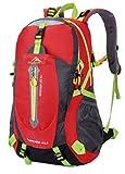 yemsy style 登山 リュック バッグ バックパック 大容量 防水 撥水 軽量 選べる カラー 山登り トレッキング ハイキング (レッド)
