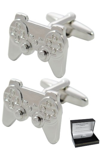 boutons de manchette console de jeux manette grande qualit laiton couleur argent. Black Bedroom Furniture Sets. Home Design Ideas