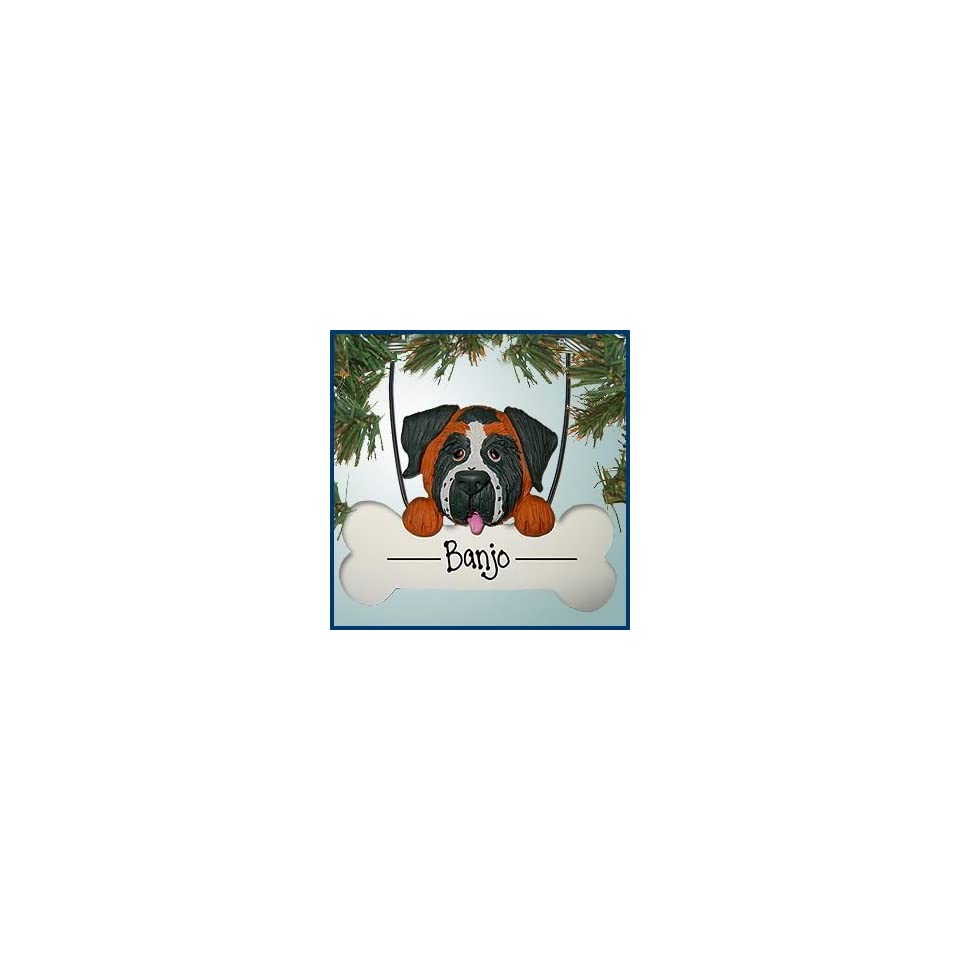 Personalized Christmas Ornaments   Saint Bernard Dog on Bone   Personalized with Perfect Handwriting