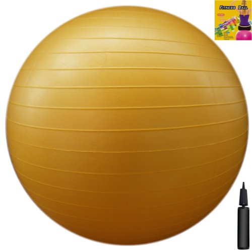 Fitness Ball: Yellow, 22in/55cm Diameter, Includes 1 Ball +1 Pump + 1 Page Instruction Chart. No instructional DVD. (Exercise Gym Swiss Stability Ball)