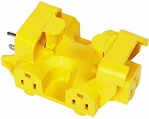 COLEMAN CABLE INC 997362 Five Outlet Adapter, 15-Amp, Yellow