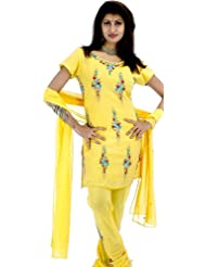 Exotic India Yellow Choodidaar Suit With Floral Embroidery And Sequins - Yellow