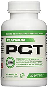 PCT-Platinum PCT,Post Cycle Support,Post Cycle Supplement & Testosterone Booster, Liver Support and Boost Free Testosterone Levels, 60 Capsules, 30 Day Cycle, Anti-Estrogen Supplement, Anti-Aromtase Inhibitors, Build Lean Muscle, (Top Rated PCT for Men)