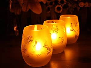 Flameless Votive LED Candles with Remote: Set of 3 Oval Glass Christmas Pattern