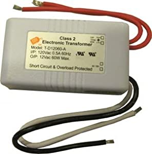 Pack of ONE (1), 10-60W 120V to 12V Dimmable Transformer UL approved