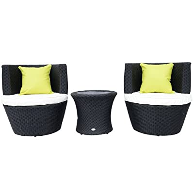 Outsunny Conservatory Patio Outdoor Garden Rattan Furniture Vase Chair Set Stackable 3 PC Tea Furniture Set FIRE RESISTANT Sponge