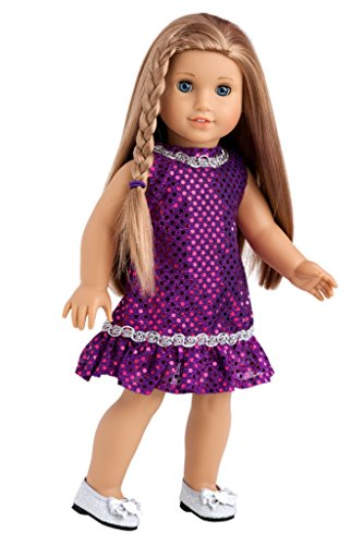 Violet - Purple sequin dress with silver belt and silver shoes - 18 Inch American Girl Doll Clothes