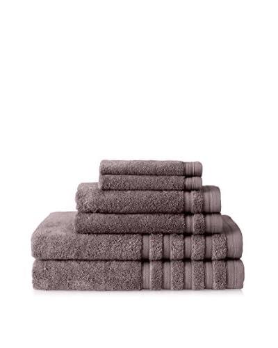 Baltic Linen Pure Elegance 6-Piece Luxury Towel Set, Rich Cream, Charcoal
