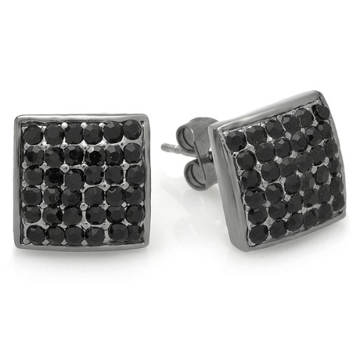 Black Rhodium Plated Stud Earrings 10 mm Square Dome Shaped Round Iced Crystal Pushback Post