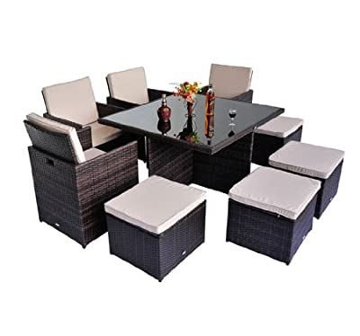 RATTAN GARDEN FURNITURE OUTDOOR PATIO SET CUBE WEAVE WICKER DINING 9PC 2 COLOUR New