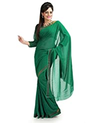 Designersareez Women Chiffon Jacquard Printed Green Saree With Unstitched Blouse(964)