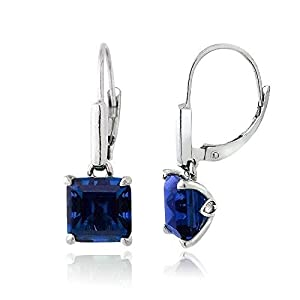 Sterling Silver 5.5ct Created Blue Sapphire Square Leverback Earrings
