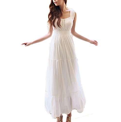 Coolsky Chiffon Summer Beach Strap Maxi Dress White