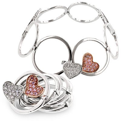 Bracelets Tutone, silver and rose gold overlay, pink ice and clear CZs, prong set