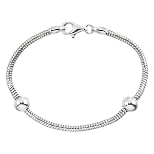 "Zable(tm) 8"" Sterling Silver Snake Bracelet with Smart Bead / Charm"