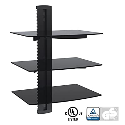 Aluminum/Tempered Glass DVD Mount Triple Deck Black DVD213