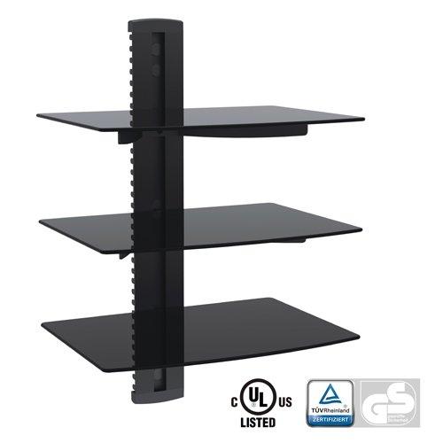 Aluminum/Tempered Glass DVD Mount Triple Deck Black DVD213