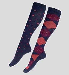 2 Pairs Of Cotton Rich Spot & Argyle Knee High Socks