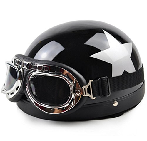 NEW! Hot Sale Unisex New Summer Vintage Motorcycle Helmets Open Face Half Motorbike & Goggles Helmet Capacete (#3)