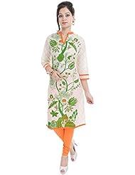 Shop Rajasthan Women's Cotton Floral Print 3/4 Sleeve Kurti