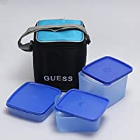 Guess Lunch Break 3 Pcs Square Black Bag (Blue Containers)
