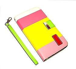 DNG Motorola Moto X XT1055 Leather Flip Designer Stripe Wallet Case Cover Pouch Table Talk New Yellow