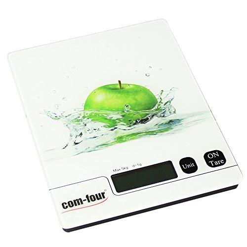 COM-four ® balance de cuisine numérique avec écran lCD charge max. : 5 kg, Apfel Motiv