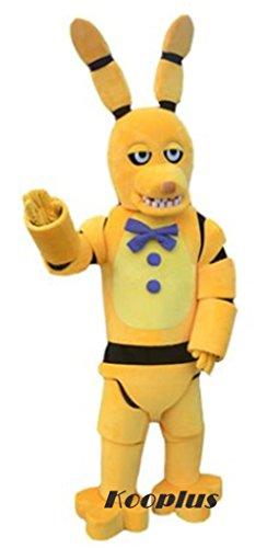 [Kooplus Five Nights At Freddys FNAF Golden Bonnie Mascot Costume Cartoon Costume] (Fnaf Bonnie Costume)