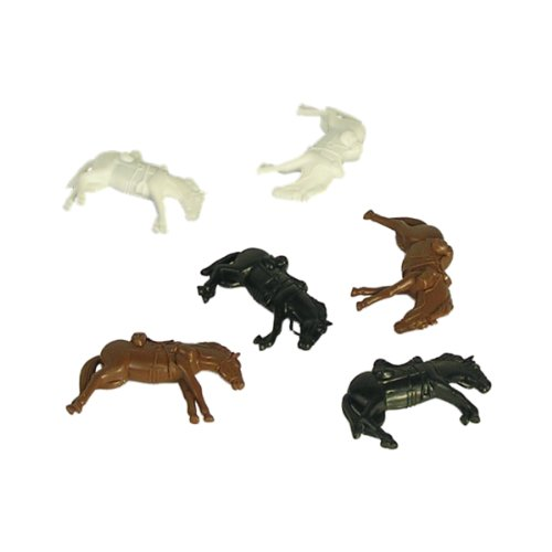 BMC Downed Horses: 6 Piece Set of Brown, White, and Black 54mm Horse Figures 1:32 scale