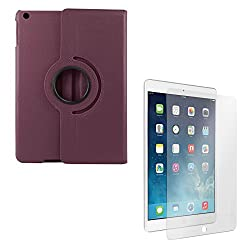 DMG PU Leather 360 Degrees Rotating Stand Case for Apple iPad Air 2 iPad 6 (Purple) + Tempered Glass Screen Protector