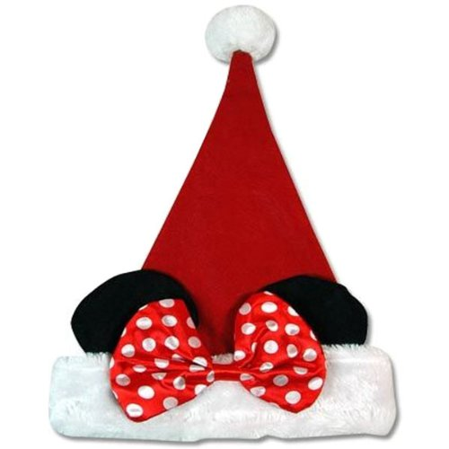Disney Plush Minnie Mouse Ears Red Christmas Santa Claus Hat- Child Size