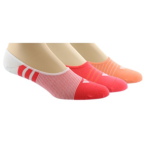 Adidas Women's Superlite Super No Show Socks (3 Pack), White/Sun Glow/Shock Red, One Size