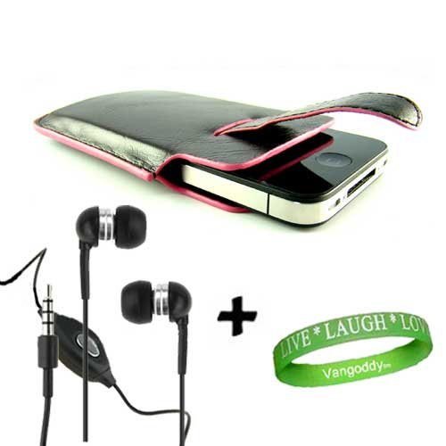 iPhone 4 leather Case Accessories Kit: Black Faux with Pink Trim Faux Leather Holster Case + Black iPhone 4 earphones with microphone + Live * Laugh * Love VG Silicone Wrist Band!!!