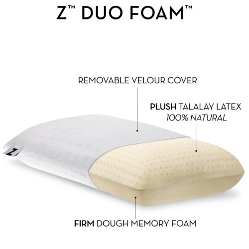 Z by Malouf DUO-FOAM Two-Sided Talalay Latex - Dough Memory Foam Pillow, KING