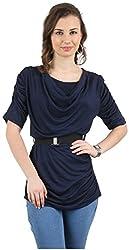 MANKA Women's Half Sleeve Top (MK-542BL_S, Blue, Small)