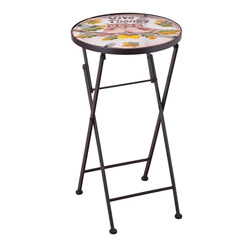 Homebeez Couple Owes Mosaic Foldable Round Plant Stand Accent Side Table, Black Color Tube Legs, Outdoor Indoor, Height 21 Inches
