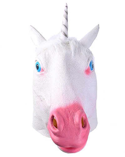 eFuture(TM) Magical Adult Unicorn Head Latex Rubber Animal Mask with Keyring