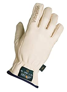 Decade 49002 Leather Anti-Vibration Full-Finger Left Hand Driver's Glove with Gfom, Buff, Medium
