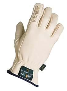 Decade 49002 Leather Anti-Vibration Full-Finger Left Hand Driver's Glove with Gfom, Buff, Medium