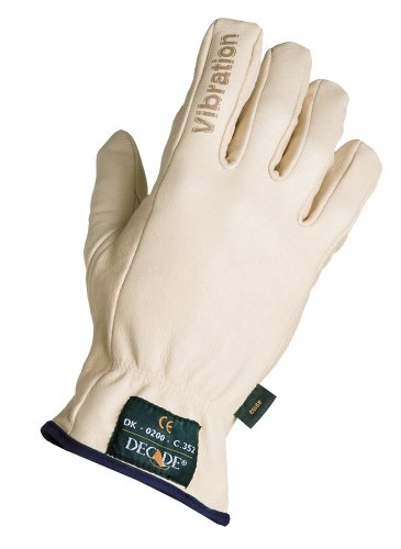 Decade 49101 Leather Anti-Vibration Full-Finger Right Hand Driver'S Glove With Gfom, Buff, Small