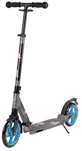 STAR-SCOOTER® Premium City Scooter für gelenkschonenden Komfort auch auf dem Schulweg ? 205mm Vollgefederte Fully Edition ? Grau & Blau