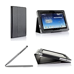 ProCase ASUS MeMO Pad FHD 10 Protective Case with bonus stylus pen - Flip Stand Leather Cover Case for ASUS MeMO Pad FHD 10 Inch WIFI LTE Tablet ME302, Built-in Stand, Supports Auto Sleep / Wake (Black)