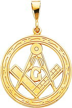 14K Yellow Gold Free Mason Charm
