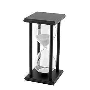 TOOGOO(R)60 Min Reloj de Arena madera negra Arena blanca Ampolleta Temporizador de reloj Decoracion del hogar por TOOGOO(R)