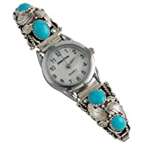 Sally Yazzie Sterling Silver Turquoise Leaf Ladies Watch Navajo