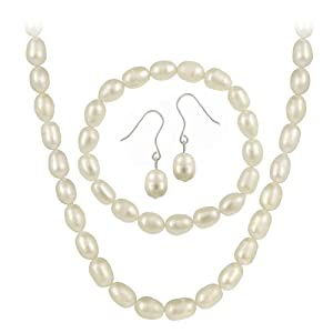 Sterling Silver Cultured Freshwater Pearl 3 Piece Jewelry Set