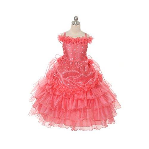 Rain Kids Coral Stars Off Shoulder Pageant Dress Toddler Girl 2T