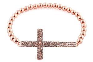 Rose Gold Iced Out Cross Beaded Bracelet Shamballah