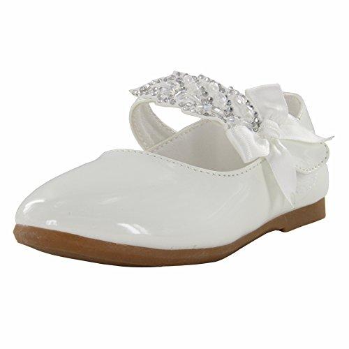 Maxu Little Girl Ballet Mary Jane Shoe,White,Toddler,5.5M